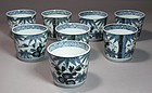 Group of 8 F Blue/White Ko-Imari Porcelain Cups-19th C.
