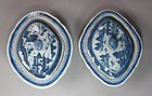 Pair of Fine Blue/White Canton Export Tureens-19th C.
