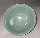 Very Rare/Fine Korean Incised Celadon Deep Bowl-12th C.