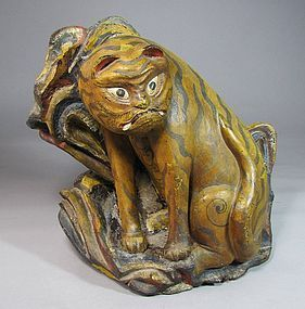 Very Rare Wood CarvedTiger with Polychrome Pigments
