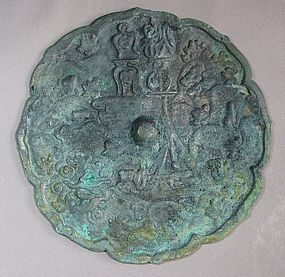 Rare Koryo Mirro with Natural Green Patina-14th C.