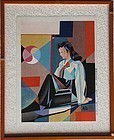 Rare Korean Young Lady Woodblock Print by Shul-Chon