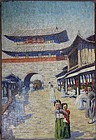 Rare Daily Life Stree Scene Oil Painting Western Artist