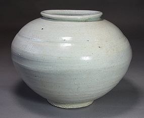 A Very Rare and Fine Korean White Glazed Jar-17th -18th C.:
