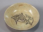 Very Rare Punchong Bowl with Fish in Underglaze Ironblack