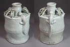 Extr. Rare/Fine White Glazed Bamboo Form with Lizards Bottle