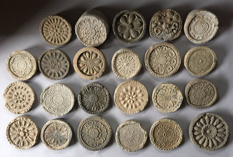 Very Rare Group of 23 Temple�s Roof Tiles from 3 Kingdoms-6th C.