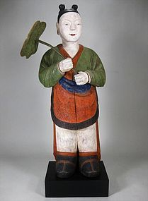 Very Fine/Rare/Large Polychrome Pigments Painted Wood Dong-Ja