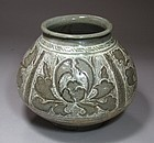 Extre. Rare/Fine Sraffiato and Reverse Inlaid Punchong Jar