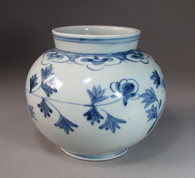 A Very Fine Blue and White Porcelain Globular Jar-19th C.: