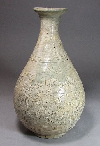 A Rare Korean Punchong Bottle Incised with Peony Blooms-16th C