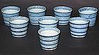 Very Fine/Rare Set of 8 Blue and White Ko Imari Cups