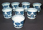 A Very Fine Set of 8 Blue and White Ko Imari Cups: