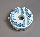 A Very Fine/ Rare Circular Blue and White Water Dropper