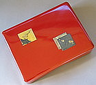 A Rare/Fine Red Lacquer Signed Wedding Box /Docu. Box
