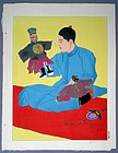 Woodblock Print Chinese Puppet Player/Paul Jacoulet