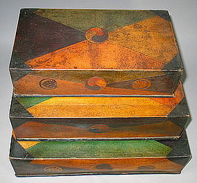 Rare/Fine Total Paper Marche 3 Stacking Sewing Boxes