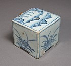 Very Rare Blue and White Square-Forrm Water Dropper