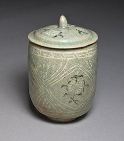 A Very Rare and Fine Inlaid Celadon Cup and Cover