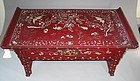 Very Rare mother of pearl inlaid Red Lacquer Sutra Desk