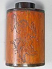 Very Rare Bamboo Tea Caddy/Incised Poems/Dancing