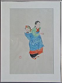 A Rare and Fine Water Color Painting by Won Suk Yeon
