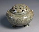 Very Rare / Fine Koryo Celadon Open Work Incense Burner