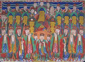 Fine Buddhist Painting, Chijang Posal,Ten Kings/Attend.