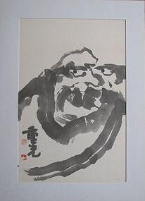 Korean Dalma (Lohan) Painting by Priest Joong-Kwang