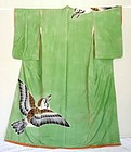 Japanese Vintage Textile Stage Kimono With Sparrow