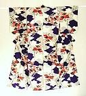 Japanese Vintage Textile Meisen kimono Cloud & Flower