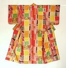 Japanese Vintage Textile Meisen Kimono Colorful & Roses
