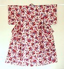 Japanese Vintage Textile Meisen Kimono Wine Red Flowers