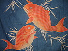 Japanese Antique Textile Furoshiki With Sea Bream