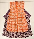 Japanese Antique Textile Juban With Beni Itajime