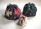 Japanese Antique Textile Asa Kasuri Kome-bukuro