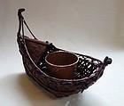 Japanese Vintage Bamboo Ikebana Basket Boat