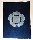 Japanese Antique Textile Futonji With Katazome