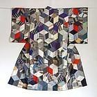 Japanese Vintage Textile Patchwork Silk Juban