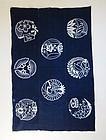 Japanese Vintage Textile Indigo Futonji with Tsutsugaki Design