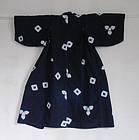 Japanese Vintage Textile Cotton Shibori Child's Kimono Tohoku