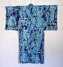Japanese Vintage Textile Cotton Shibori Woman's Kimono