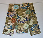 Japanese Vintage Textile Silk Gold Brocade Obi Sash with Flowers