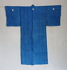 Japanese Antique Textile Asa Man's Kimono with Crests