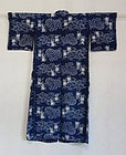 Japanese Antique Textile Hemp Omi Kasuri Baby's Kimono