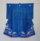 Japanese Antique Textile Child's Ceremonial Kimono with Cranes