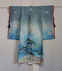 Japanese Antique Textile Girl's Asa Ceremonial Kimono with Charm