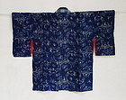 Japanese Antique Textile Asa Kasuri Woman's Han-juban