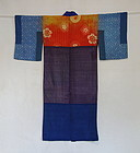 Japanese Antique Textile Silk Yosegire Juban Under Kimono