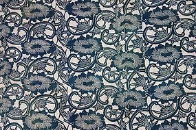 Japanese Antique Textile Cotton Katazome Karakusa Futonji